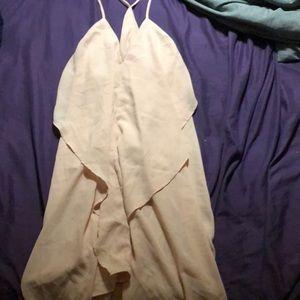 Beige low cut dress